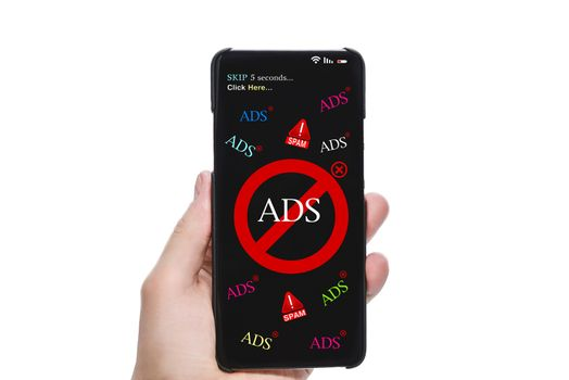 Stop Spam and Intrusive Advertising Banners. Person's Hand Holding Mobile Phone With Screen Showing Block Ads Message Against white Background.