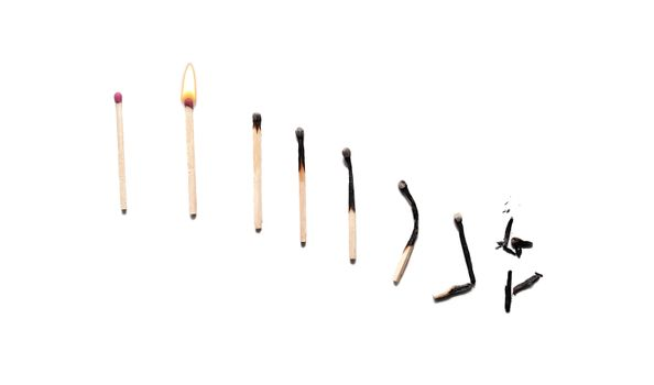 Matches. The effect of burning on matches looks like a declining graph. ging, destruction or exhaustion of a resource. concept from youth to old age. bad habits concept