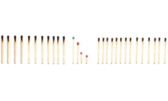 matches isolated on a white background. family protection concept. purity. protecting the family from the bad influence of society