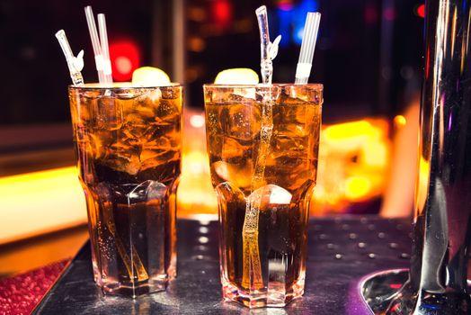 Cocktails in the nightclub, lights, bokeh night life