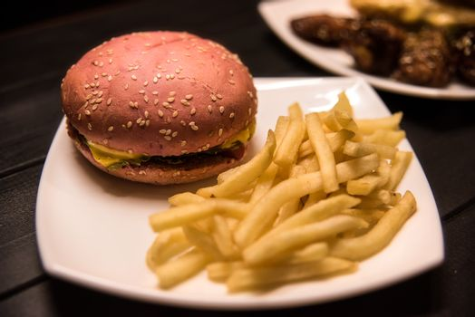 Fast food,tasty food, street food, grilled chicken,burgers French fries salad