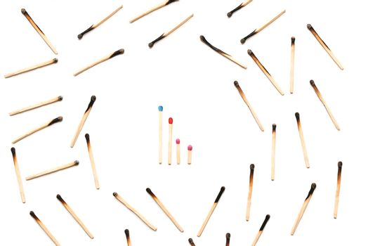 matches isolated on a white background. family protection concept. purity. protecting the family from the bad influence of society.