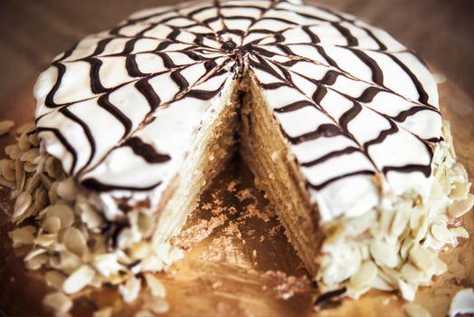Delicious Almond Cake, sweets, cream white yummy