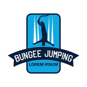 bungee jumping logo with text space for your slogan / tag line, vector illustration