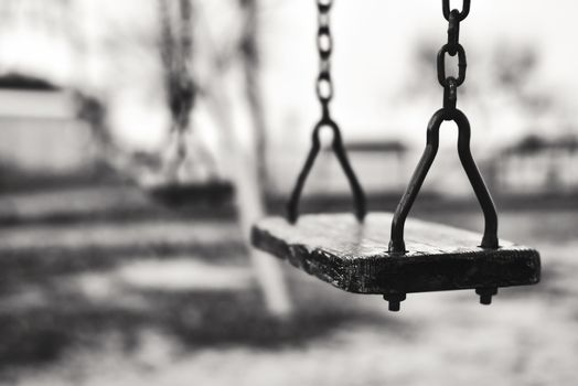 Old Swing, black white photo, dramatic childhood