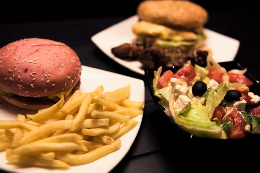 Fast food,tasty food, street food, grilled chicken, burgers French fries salad