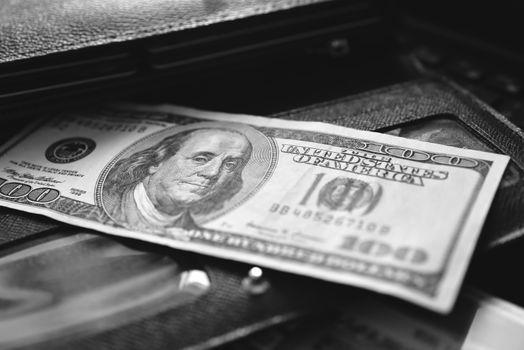 Money wallet dollar, white, business finance success