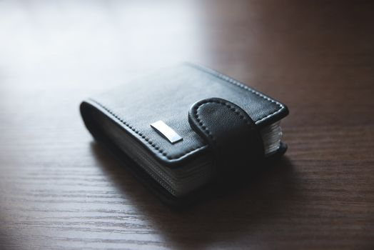 wallet for credit cards on the table, cardholder