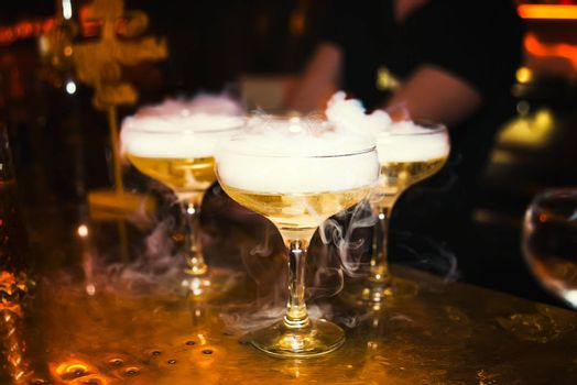 Cocktails with smoke in the nightclub, nightlife