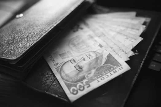 Money, UAH, hryvna, black and White, Ukrainian Hryvnia UAH financial operations success