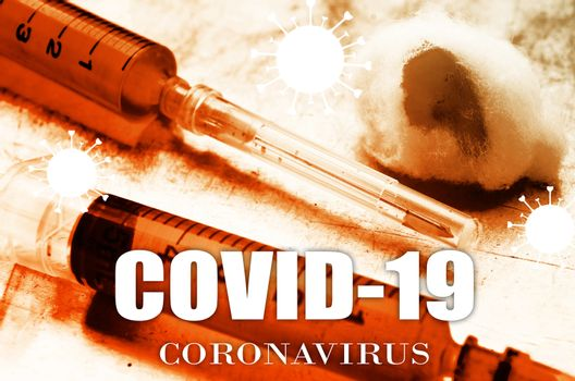Vaccine and syringe injection. COVID-19 infectious concept.