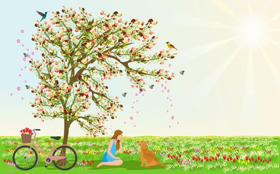 Women and dogs sit under the flower tree. There are bicycles beside them. There are grasslands and flowers in the background. The sun is sparkling in the sky.