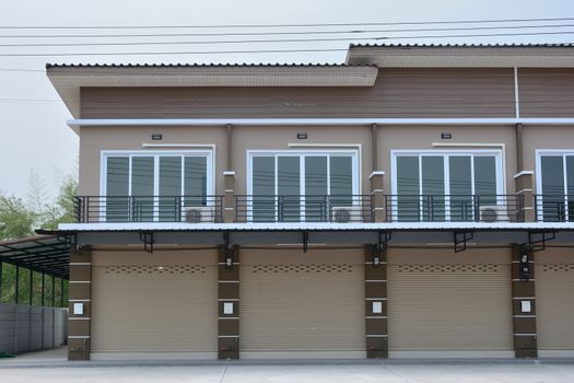 Townhouse for office or residence blue sky background in Thailand
