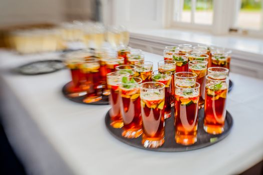 Glasses containing wedding punch to be served for guests