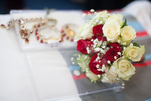 Bride red and white roses wedding bouquet