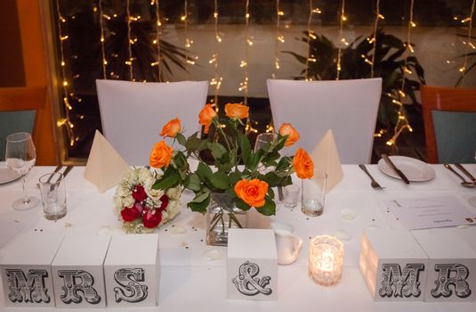 Newlyweds wedding table ready for their arrival