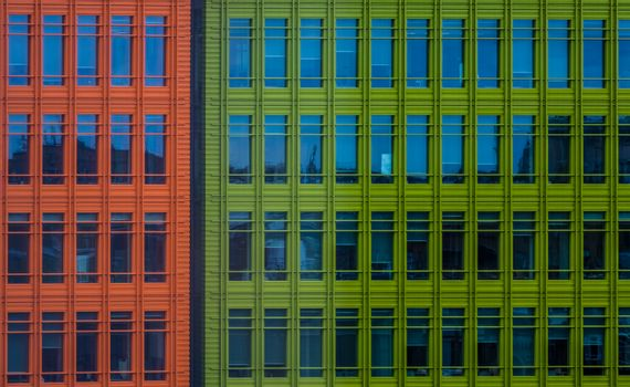 Close up of colorful modern commercial architecture in London, UK
