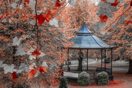 Arbor in a beautiful park in autumn, Colchester, England, UK