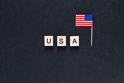 America, USA on a black background. inscription on a black background