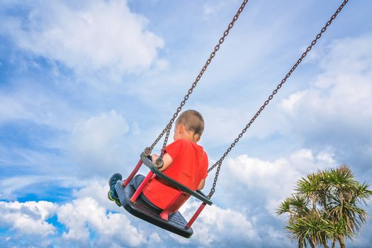 Little caucasian boy having fun on a sling om a playground