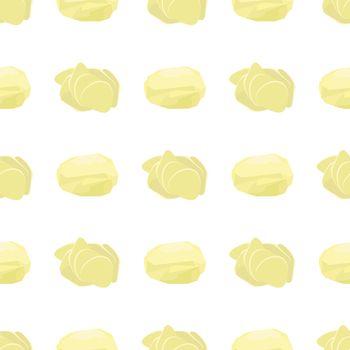 Potato Seamless Pattern. Whole, Slices, Circle Potatoes. Tasty Vegetable. Fast Food Snack. Organic Food