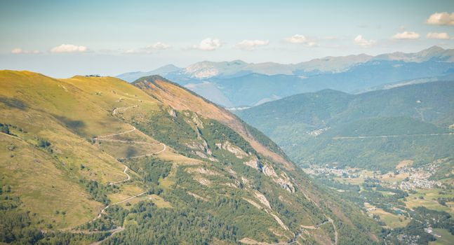 Pyrenees view from the Pla D Adet ski resort next to Saint Lary, France