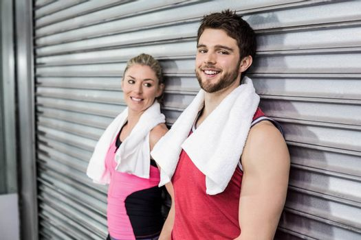 Athlete people posing together at crossfit gym