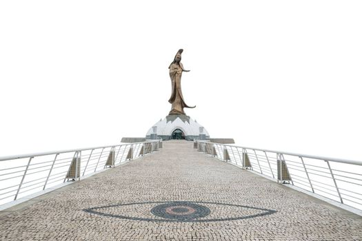 Statue of kun iam macau in white background with clipping path