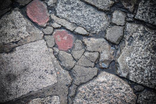 Broken Brick walkway backgroud and close up