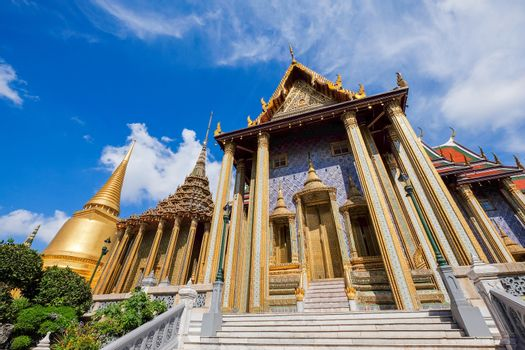 Wat Phra Kaew (The Emerald Buddha) daylight view in Thailand