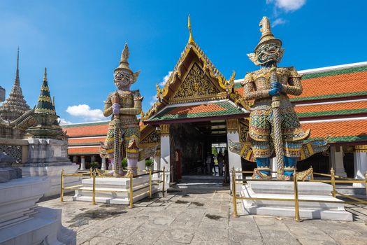 Gaint in Wat Phra Kaew (The Emerald Buddha) daylight view in Thailand