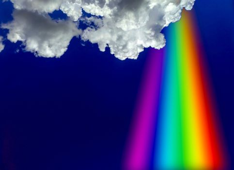 prayer rainbow from heaven white cloud and blue sky