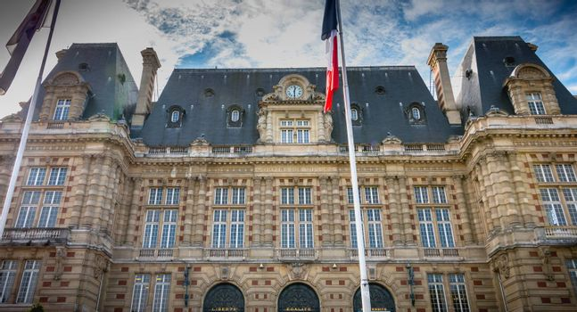 Versailles, France - October 9, 2017: Architectural detail of the town hall of the city on a fall day