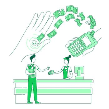 Microchip embedded in human hand thin line concept vector illustration. Cashless shopping, people with chip and terminal 2D cartoon character for web design. NFC payment creative idea