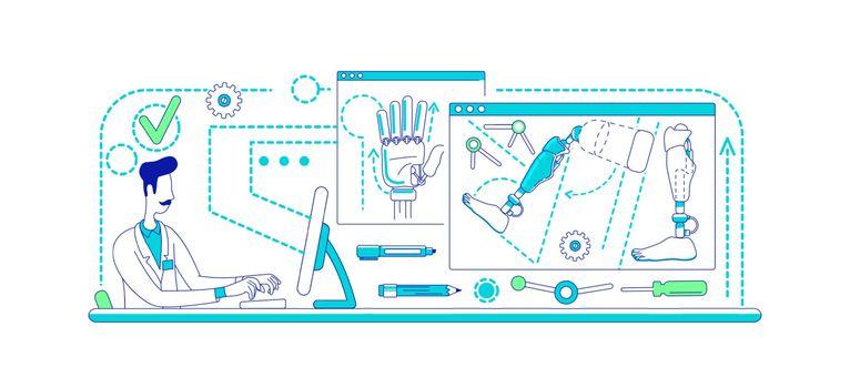 Prosthesis development laboratory thin line concept vector illustration