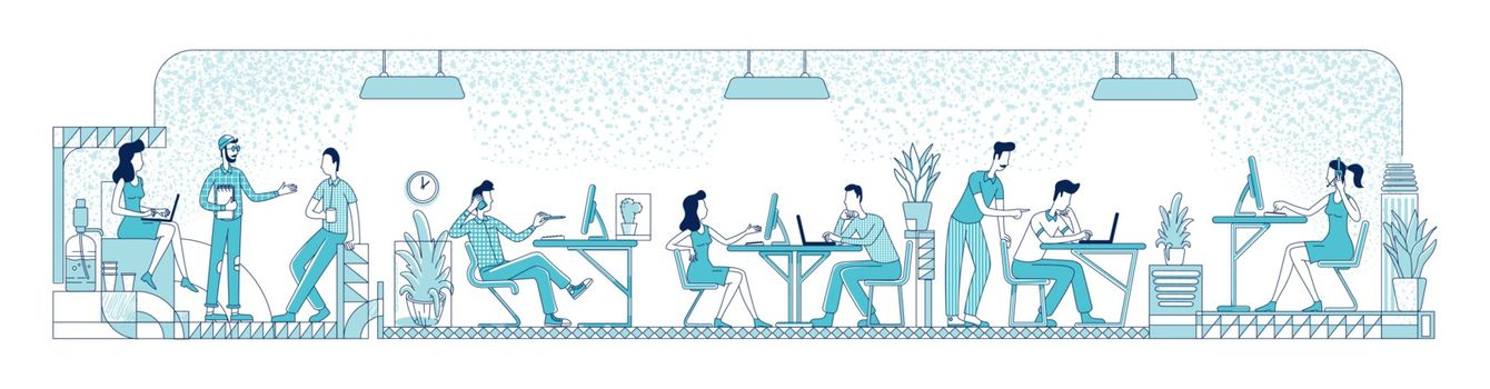 Open space office workers flat silhouette vector illustration. Business people, corporate workers outline characters on white background. Busy employees at coworking place simple style drawing