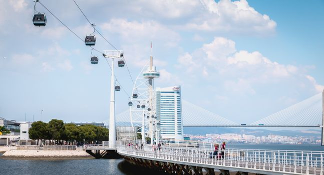 Lisbon, Portugal - May 7, 2018: Telecabine Lisboa at Park of Nations (Parque das Nacoes). Cable car in the modern district of Lisbon over the Tagus river on a spring day