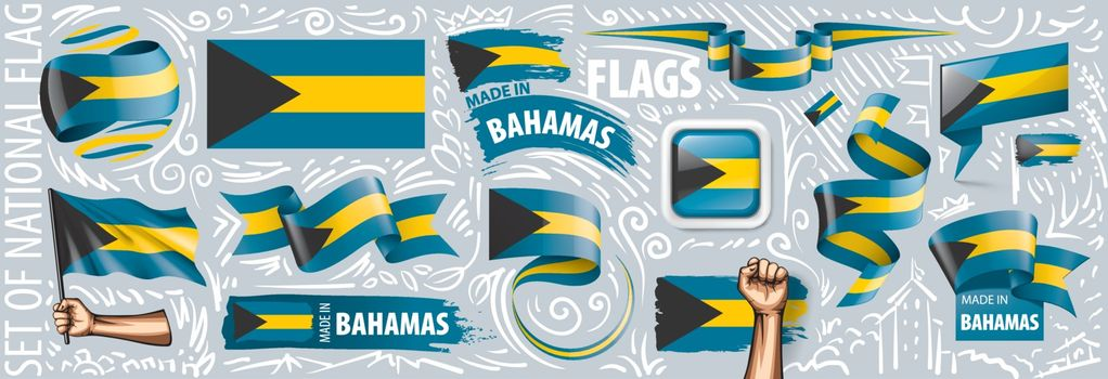 Vector set of the national flag of Bahamas in various creative designs.