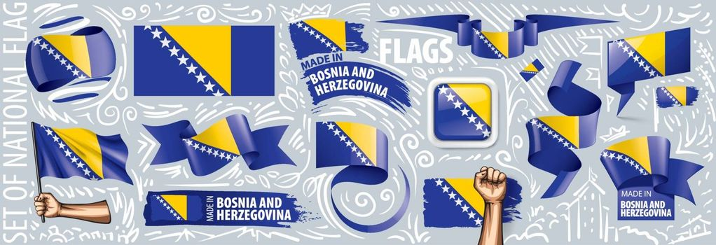 Vector set of the national flag of Bosnia and Herzegovina in various creative designs.