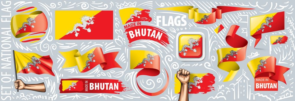 Vector set of the national flag of Bhutan in various creative designs.