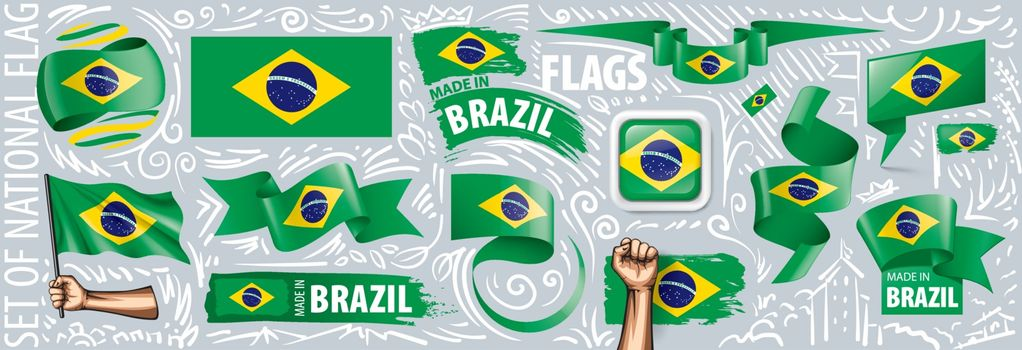 Vector set of the national flag of Brazil in various creative designs.