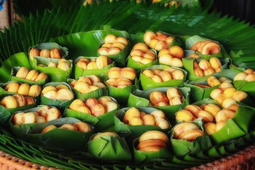 Thai dessert - wrapped in banana leaves