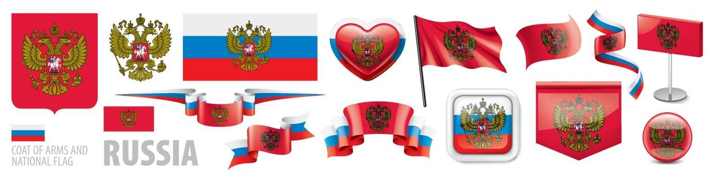 Vector set of the coat of arms and national flag of Russia.