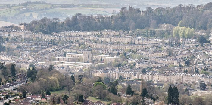 View of the City of Bath showing the extraordinary architecture and green spaces the place has to offer