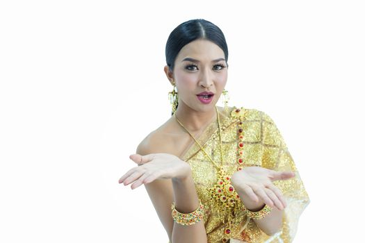 Beautiful Thai women wearing traditional Thai clothes that have a unique Thai culture. Happy asian woman with blank copyspace, isolated on white background