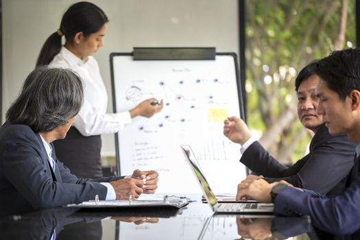 Group of business people planning meeting to conduct an intensive business organization. Business people discussing over new business project in office.