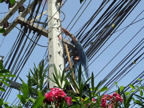 technician install and repairing maintenance optical fiber cable