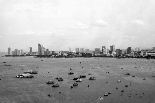 Pattaya city, Pattaya beach and sea gray tone