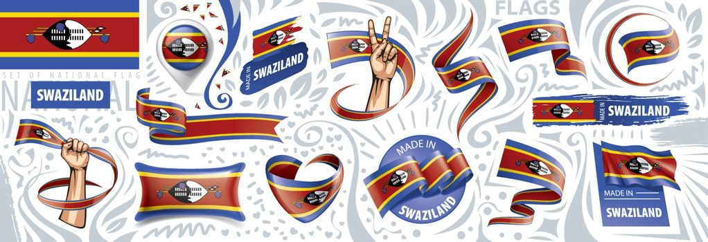 Vector set of the national flag of Swaziland in various creative designs.