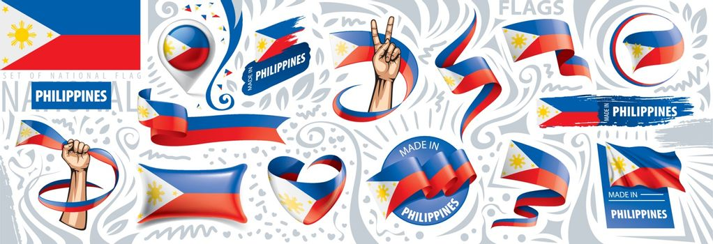 Vector set of the national flag of Philippines in various creative designs.